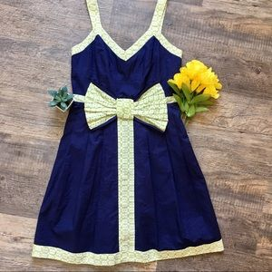 Judith March Navy & Blue Bow Detail Dress